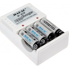 Φορτιστής για μπαταρίες τύπου ΑΑ/ΑΑΑ και 9V. Δώρο 4 επανα/μενες μπαταρίες JIABAO A-613